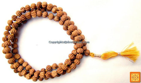 Sandalwood mala in cutting to cure skin related problems and cooling - Devshoppe