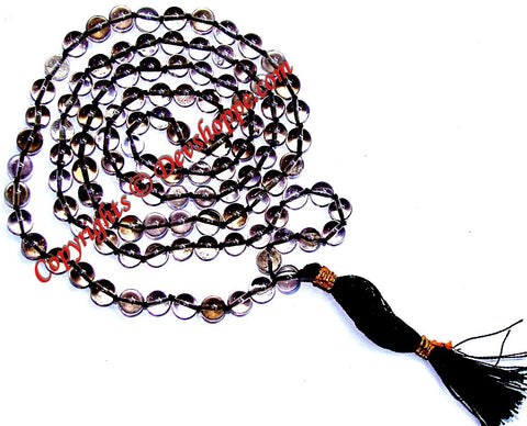 Smoky quartz mala to brings abundance, prosperity, and good luck - Devshoppe