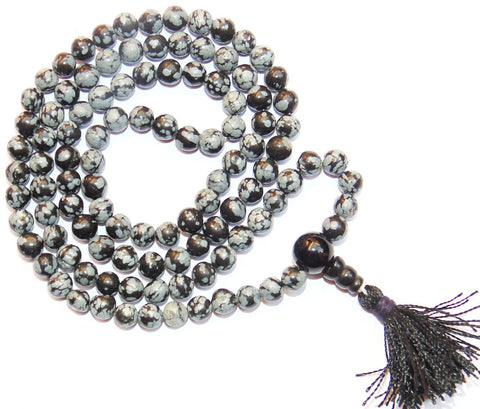 Snowflake Obsidian Buddhist style mala to get rid of Negative energies and for positivity - Devshoppe