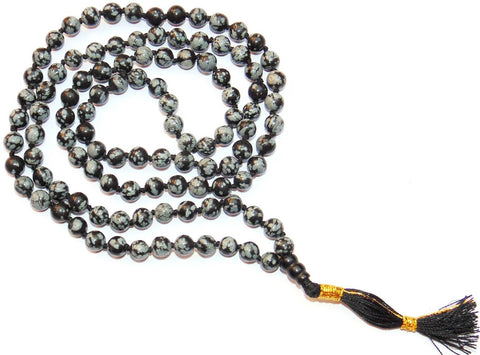 Snowflake Obsidian mala to get rid of Negative energies and for positivity - Devshoppe - 1