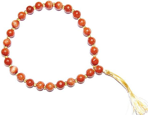 Sunstone (Goldstone) wrist mala of 27+1 beads - Devshoppe