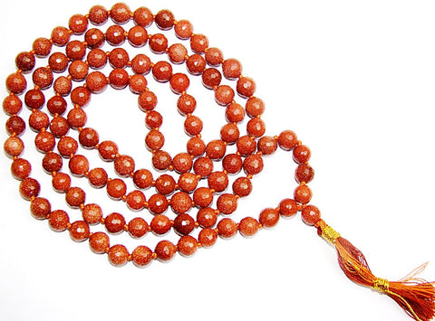 Sunstone high quality faceted beads mala for Good fortune and protection - Devshoppe - 1