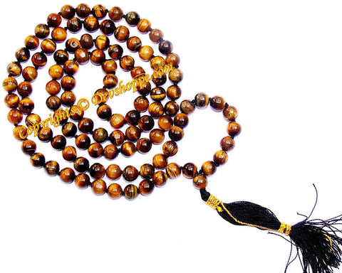 Tiger eye mala for confidence, courage and inner strength - Devshoppe