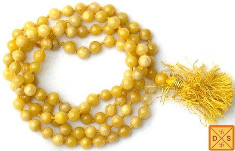 Yellow hakik (agate) mala for strength, courage and support - Devshoppe