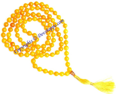 Yellow Jade mala for joy and happiness - Devshoppe