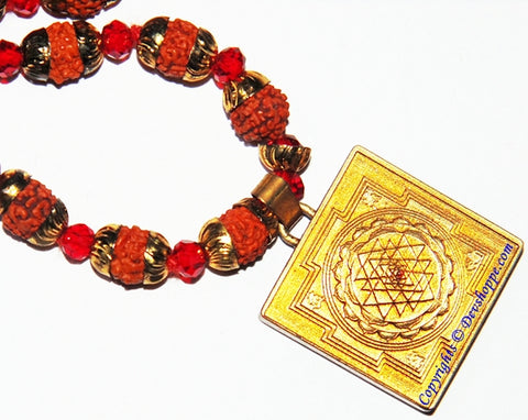 Shree yantra meru brass locket in Rudraksha mala