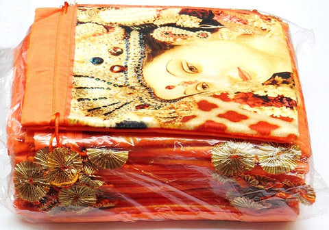 25 pieces Maa Durga bags to keep religious goods or distribute prasad - Orange colored - Devshoppe
