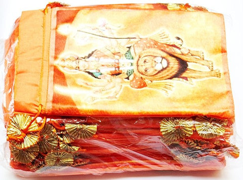25 pieces Maa Vaishno Devi (Durga) bags to keep religious goods or distribute prasad - Orange colored - Devshoppe