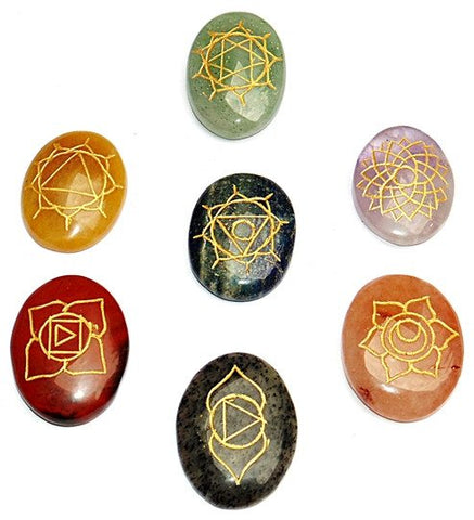 7 Chakra Reiki Healing Stones Set Energized & Purified with Engraved Chakra Symbol on it - Devshoppe