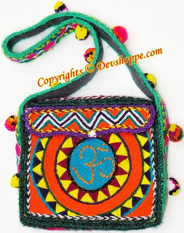 Aum (Om) woolen Shoulder (jhola) bag ~ Design 1 - Devshoppe