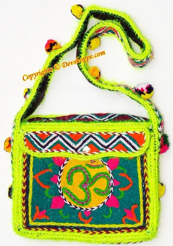 Aum (Om) woolen Shoulder (jhola) bag ~ Design 2 - Devshoppe