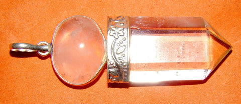 Rose Quartz and Crystal Quartz combination Pendant - Devshoppe