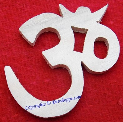 Auspicious Aum (Om) mantra symbol carved out of sacred Shriparni wood - Devshoppe