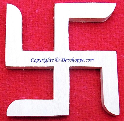 Auspicious Swastik (Sathiya) symbol carved out of Shriparni sacred wood - Devshoppe
