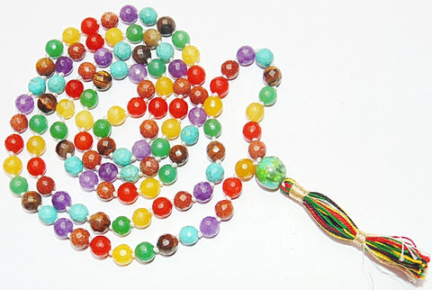 Very high quality faceted Chakra beads mala - Devshoppe