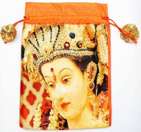Maa Durga bag to keep religious goods or distribute prasad - Orange color - Devshoppe - 1