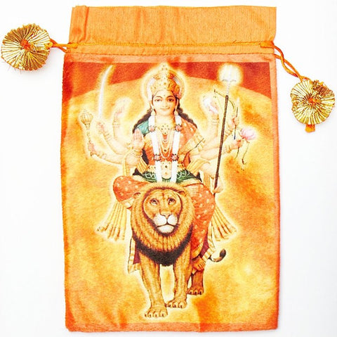 Maa Vaishno devi (Durga) bag to keep religious goods or distribute prasad - Orange color - Devshoppe