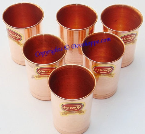 Pure Copper glasses for Ayurveda and health benefits - Set of Six - Devshoppe - 1