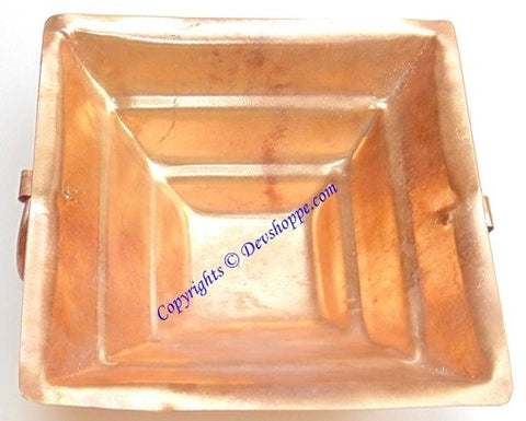Pure copper Havan kund for Agnihotra or Pooja 12 cms x 12 cms - Devshoppe