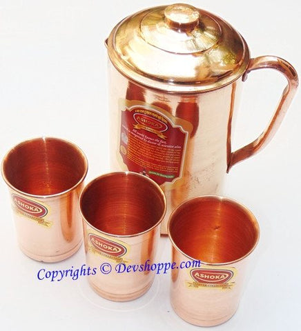 Pure Copper jug large sized with 3 pure copper glasses - Devshoppe