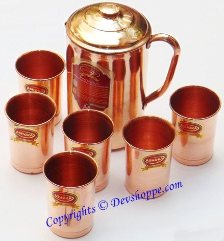 Pure Copper jug large sized with 6 copper glasses - Devshoppe