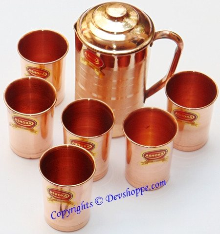 Pure Copper jug medium sized with 6 copper glasses - Devshoppe