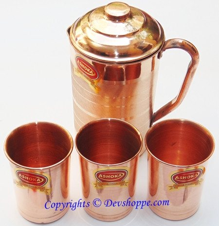 Pure Copper jug with 3 copper glasses - Devshoppe