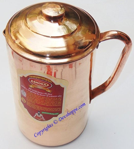 Pure Copper Jug with lid 1250 ml for Ayurveda healing - Devshoppe - 1