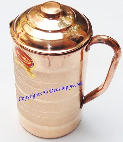 Pure Copper Jug with lid 900 ml for Ayurveda healing - Devshoppe - 1