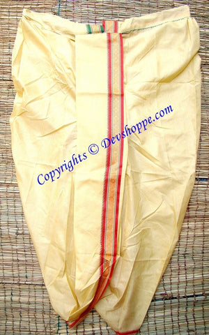 Ready to wear Dhoti light Yellow colored ~ just wear like pyjama on pujas / religious occasions - Devshoppe