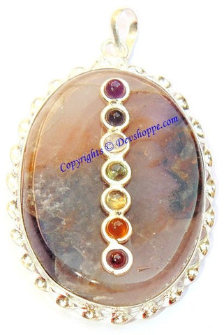 Amethyst round shaped pendant with Chakra beads - Devshoppe