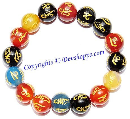 Buddhist Multi Color Agate Bracelet carved with Om (Aum) Mani Padme Hum mantras - Devshoppe
