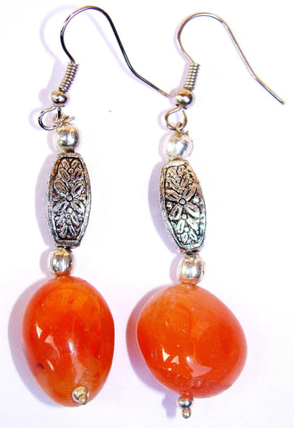Carnelian tumble Ear-rings - beautiful piece of jewellery - Devshoppe