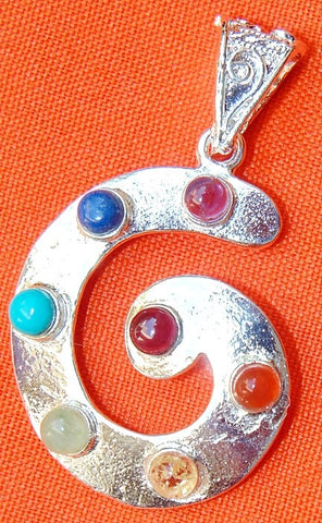 Chakra shell shaped pendant in German silver - Devshoppe