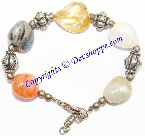 Beautiful bracelet made from real stone tumbles - Devshoppe