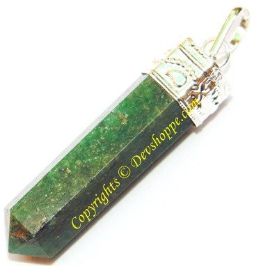 Green Aventurine pendant in white metal - Devshoppe