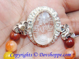 Sri Ganesha, Ridhi , Sidhi ,Sriyantra (Sri yantra) carved on Sphatik (Crystal) stone with Chakra beads bracelet - Devshoppe - 2