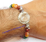 Sri Ganesha, Ridhi , Sidhi ,Sriyantra (Sri yantra) carved on Sphatik (Crystal) stone with Chakra beads bracelet - Devshoppe - 3