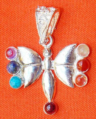 German Silver Butterfly shaped pendant with chakra stones - Devshoppe