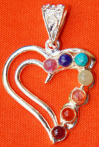 Heart shaped pendant with Chakra stones in German silver - Devshoppe