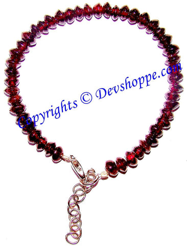 Red Garnet Bracelet Tyre shaped beads - Devshoppe