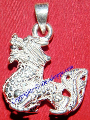 Silver Dragon pendant ~ Chinese good luck charm - Devshoppe - 1