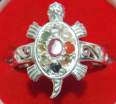 Silver Tortoise shaped ring with Navratna stones - Devshoppe - 1