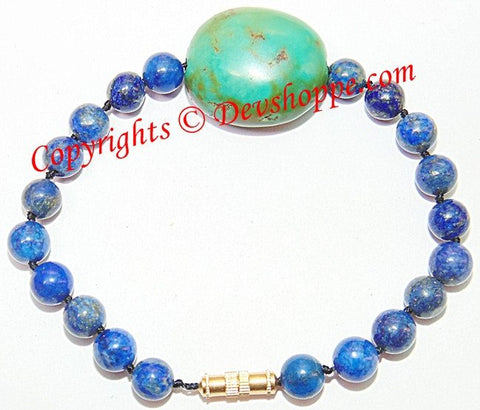 Superb quality Lapiz (Lapis) and Turquoise (Firoza) combination bracelet - Devshoppe