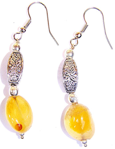 Yellow agate tumble earrings - Devshoppe