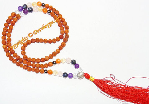 Rudraksha mala with Chakra stone beads for opening Chakras and Chakra healing - Devshoppe