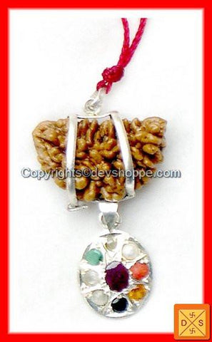 One Faced Rudraksha (1Mukhi) and Navratna Pendant Combination - Devshoppe