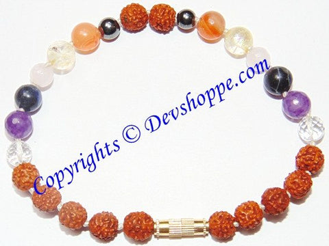 Rudraksha bracelet with Chakra stone beads for opening Chakras and Chakra healing - Devshoppe - 1