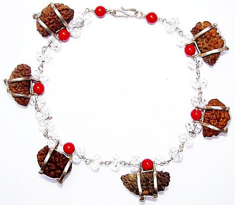 One Mukhi Rudraksha Bracelet with Crystal and Coral beads - Devshoppe