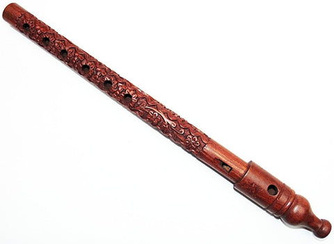 Traditional Hand Carved Wooden Side Flute Musical Mouth Woodwind Instrument large size - Devshoppe - 1